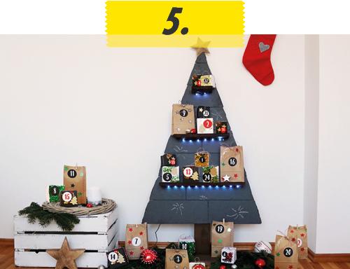 heimwerken kleben basteln bauen diy uhu kleber schiefer adventskalender weihnachtsbaum holz
