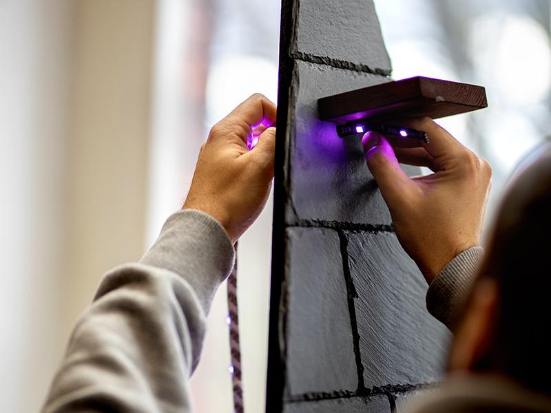 heimwerken kleben basteln bauen diy uhu kleber schiefer led beleuchtung